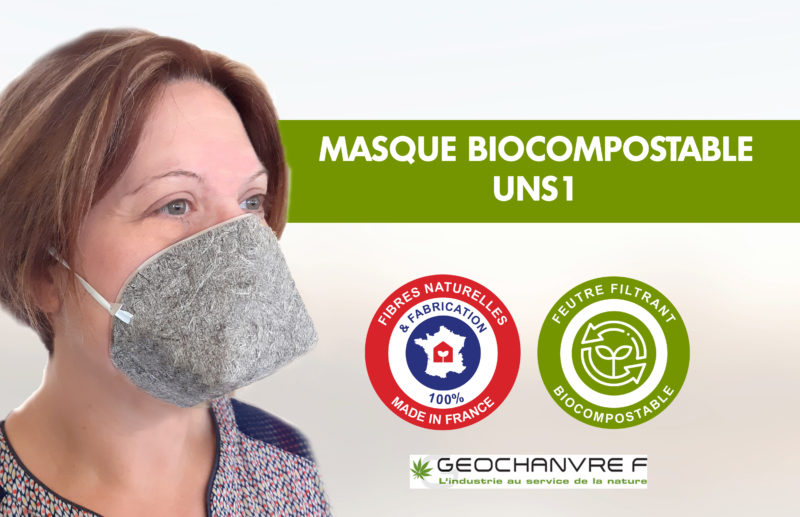 Masque Biocompostable UNS1 98% de filtration chanvre